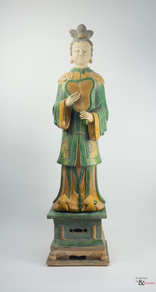 A Sancai-Glazed Ming Dynasty Pottery Sculpture of a Courtier, c. 1368-1644,