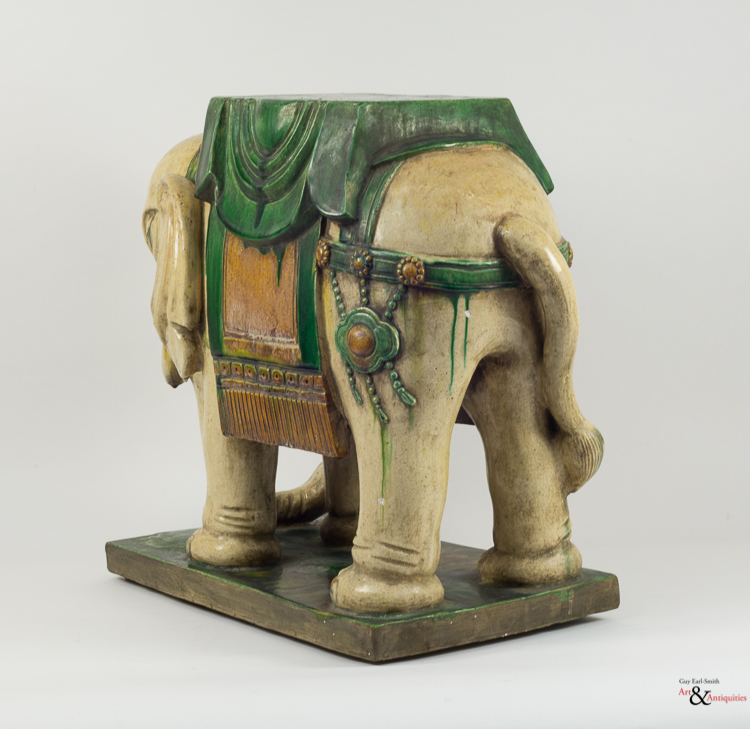 Two Sancai-Glazed Qing Dynasty Pottery Elephant Stools, Daoguang to Guangxu Period, c. 1820-1908,