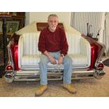 Rear of a Chevrolet Bel Air 1957 reconstructed as a sofa with integrated jukebox with single 45 RPM