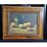 Oil on canvas Still-lifes fruits, signed J. Chatelin. 27 x 37cm.