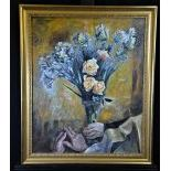 Oil on canvas bouquet of flowers, signed Charles Humbert 1936. 73 x 58cm.