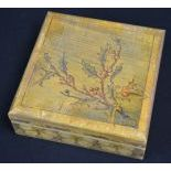 Wooden box with pressed ornaments in the fashion of poker work, colored. Height   7,5, width   20,0,...